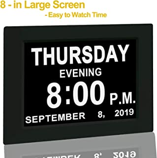 """?Upgraded? Digital Calendar Alarm Day Clock - with 8"""" Large Screen Display, am pm, 5 Alarm, for Extra Large Impaired Vision People, The Aged Seniors, The Dementia, for Desk, Wall Mounted, Black"""
