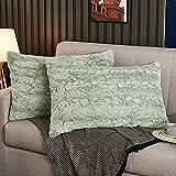 Yaoshuho Fluffy Faux Fur Pillow Covers Ombre Shaggy Pillow Shams Plush Mink Velvet Decorative Throw Pillows Cases Zipper Closure, Set of 2 (Mint Green, 20' x 26' Inch)