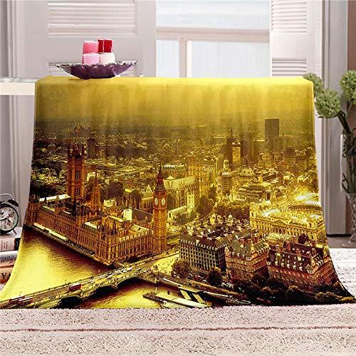 xczxc Manta de Franela Paisaje de Londres 3D Impreso de Microfibra Franela Mantas, Suave niños Adultos sofá Cama Manta Polar 180x200cm