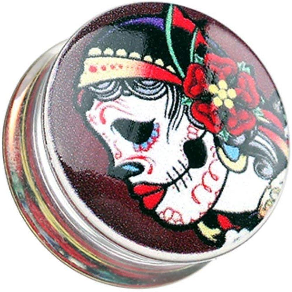 Covet Jewelry Gypsy Sugar Skull Clear UV UV Double Flared Ear Gauge Plug