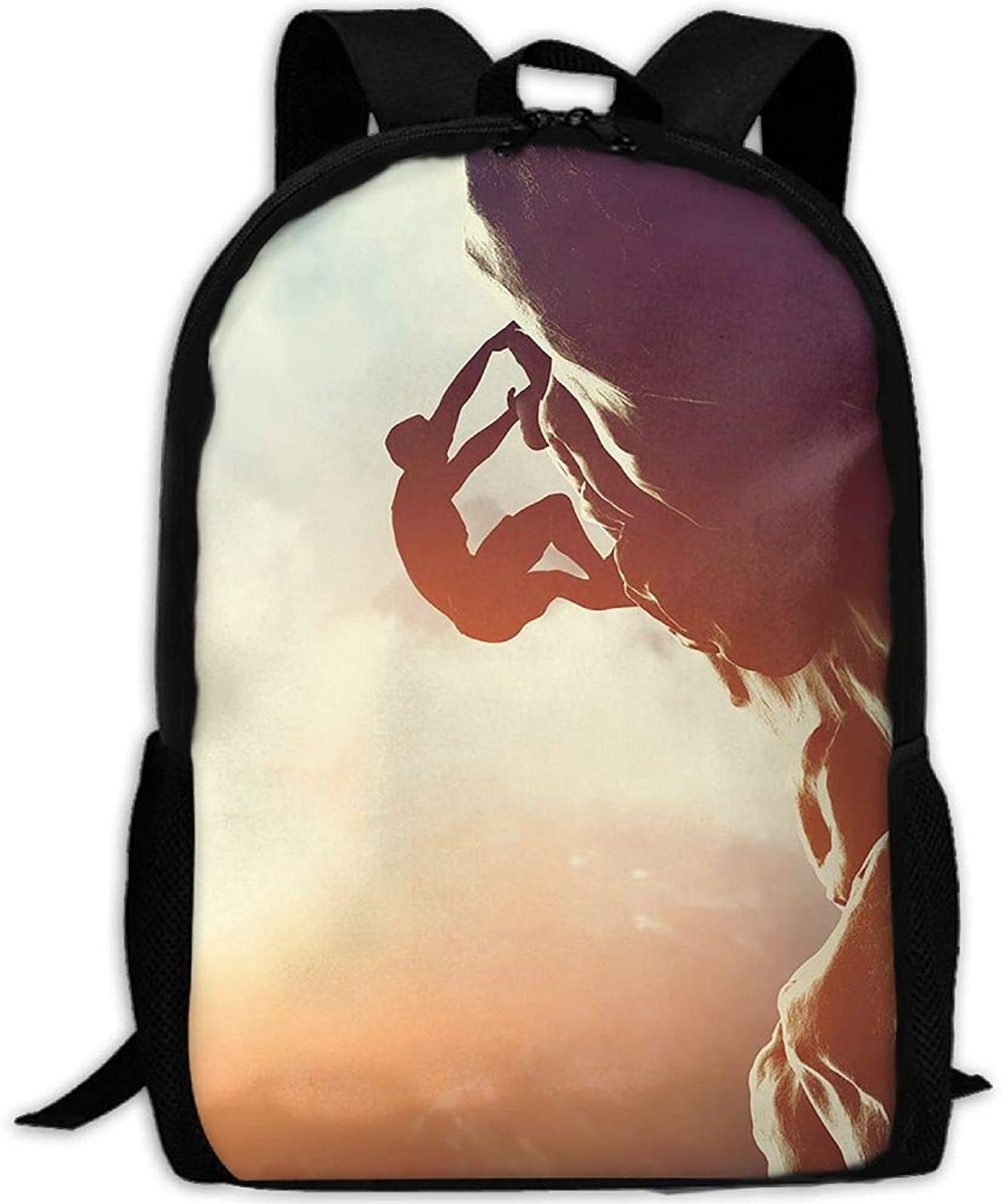 Adult Backpack Rock Mountain Climbing College Daypack Oxford Bag Unisex Business Travel Sports Bag with Adjustable Strap