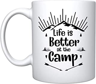 Veracco Life Is Better At The Camp Ceramic Coffee Mug Funny Birthday Gift For Camper Camping Outdoors Nature Hiking Happy Camper (Ceramic Mug)