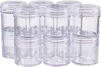 Cxjff 30 PACK 15ML Empty Clear Plastic Bead Storage Container jar with Rounded Screw-Top Lids for Beads, Nail Art, Glitter...