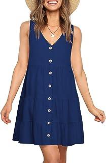 Women Dress Sleeveless V Neck Babydoll Dress for Women...