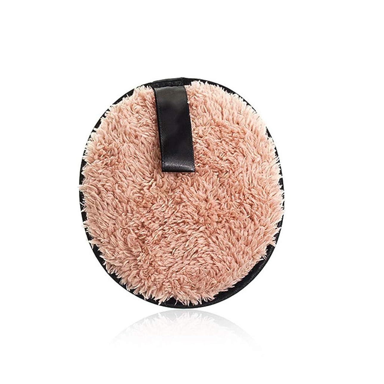 あえぎ疑い財産フェイスメイクアップリムーバーソフトスポンジコットンメイクアップリムーバークロスパウダーパフ洗顔ワイプ再利用可能な洗えるパッド (Color : Light brown, サイズ : 4.7*4.7*0.7inch)