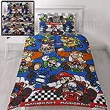 Nintendo Mario Kart - Juego de cama reversible para cama individual o doble, diseño de raceros, multicolor, edredón para cama individual