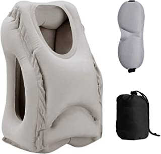 Sweesire Inflatable Travel Pillow, Airplane Pillows, Portable Neck Head Pillow for Long Flight, Train, Bus, Office Napping- Come with Eye Mask & Storage Bag (Grey)