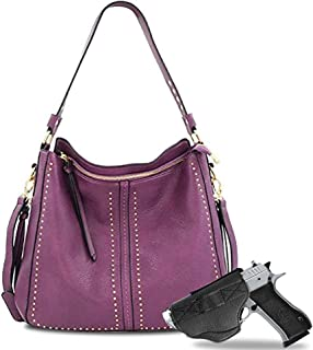 Large Concealed Carry Leather Hobo Purse For Women With Crossbody Strap And Detachable Holster