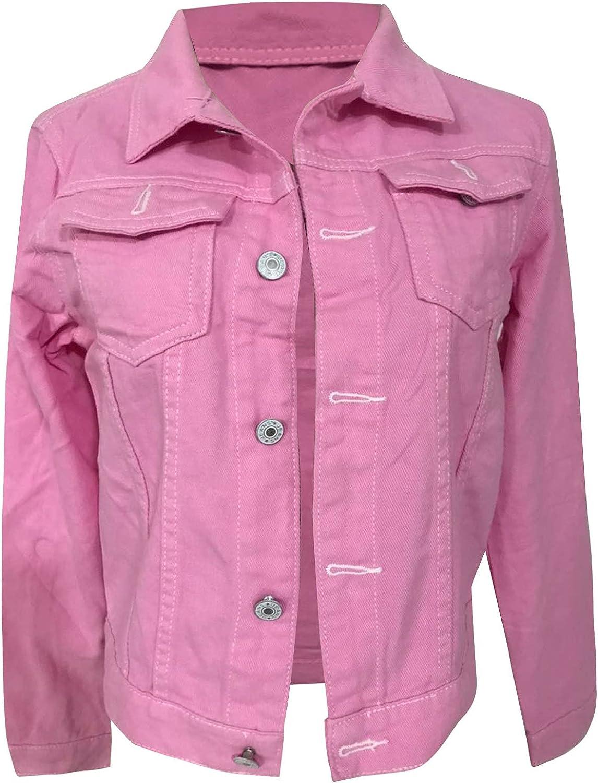 LLONG Women Denim Jean Jacket 3/4 Sleeve Short Jean Coats Button Denim Jacket With Pockets Fashion Solid Color Crop Top