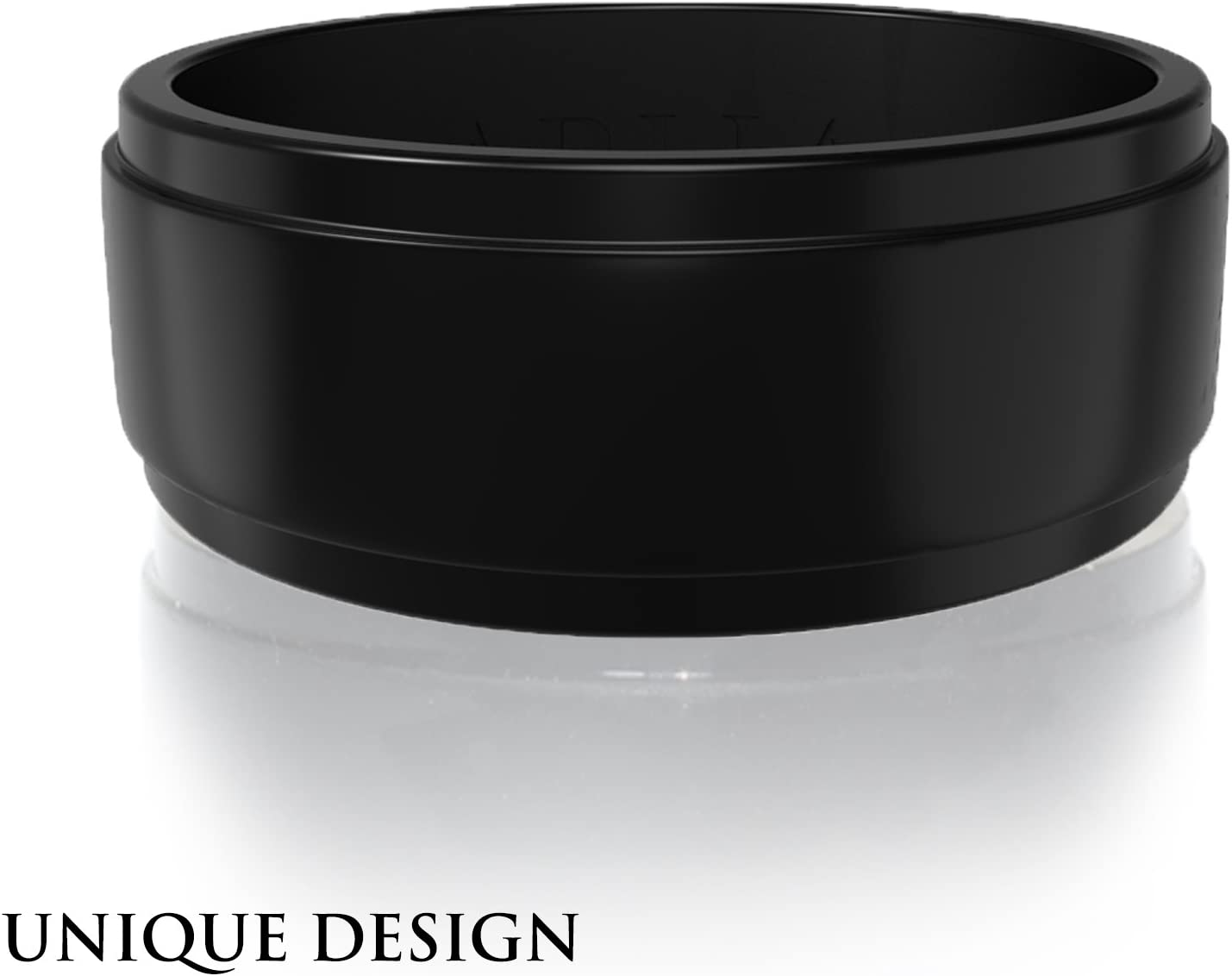 ARUA Silicone Ring for Men. Thin, Comfortable, Durable Rubber Wedding Band . Gift Bag and Silicone Keychain Included.
