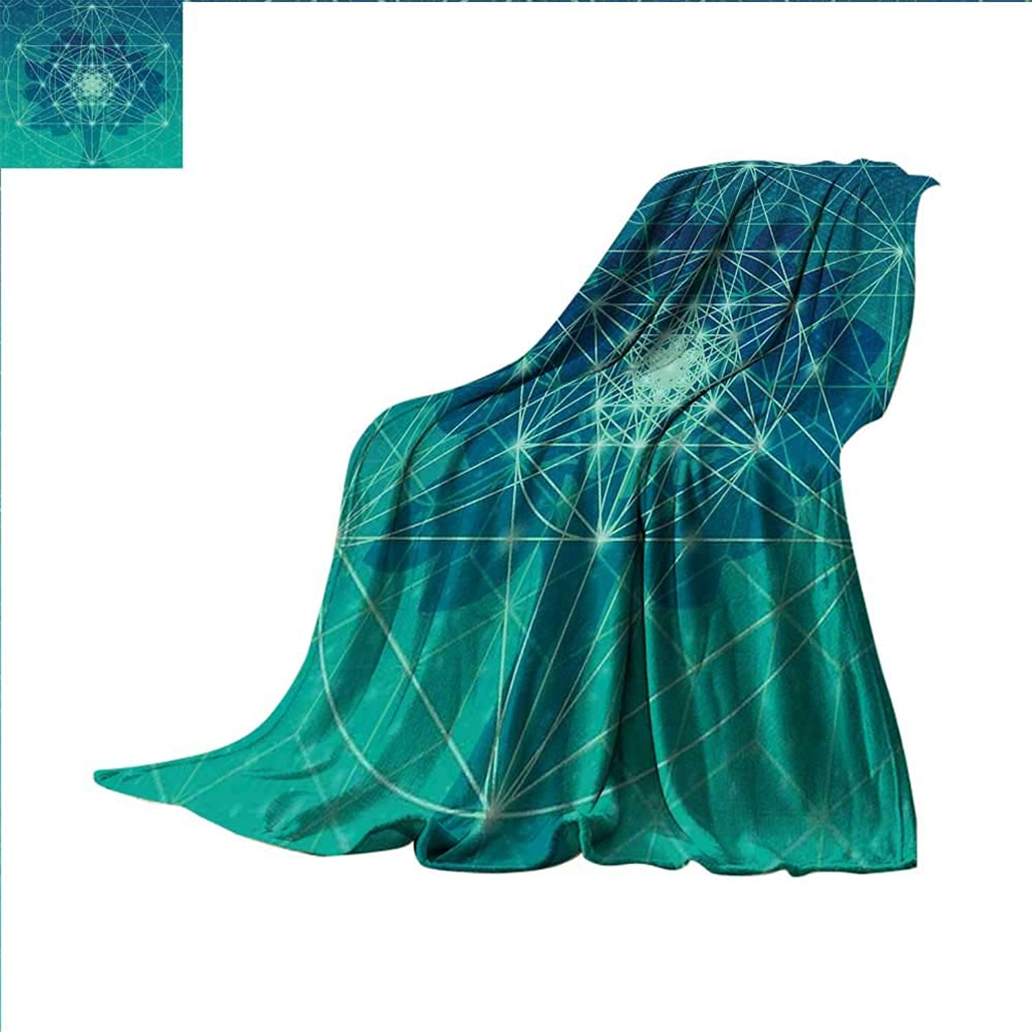 Smallbeefly Sacred Geometry Digital Printing Blanket Digital Futuristic Tree of Life with Space Plains Archaic Pattern Summer Quilt Comforter 60 x50  Petrol bluee Green