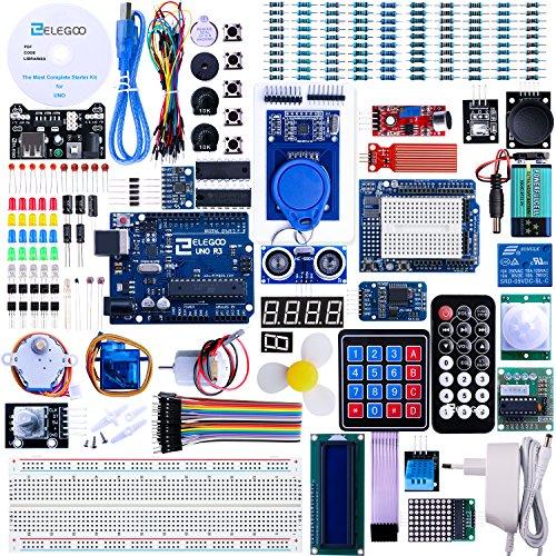 ELEGOO Conjunto Avanzado de Iniciación Compatible con Arduino IDE con Tutorial en Español y UNO R3 Placa, Relé, Modulo de Fuente de Alimentación, Pantalla LCD 1602, Motor Paso a Paso, Breadboard, etc.