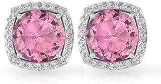 Orecchini a perno con tormalina rosa da 1,80 ct, con diamante certificato IGI, pietra del mese di ottobre, orecchini da do...
