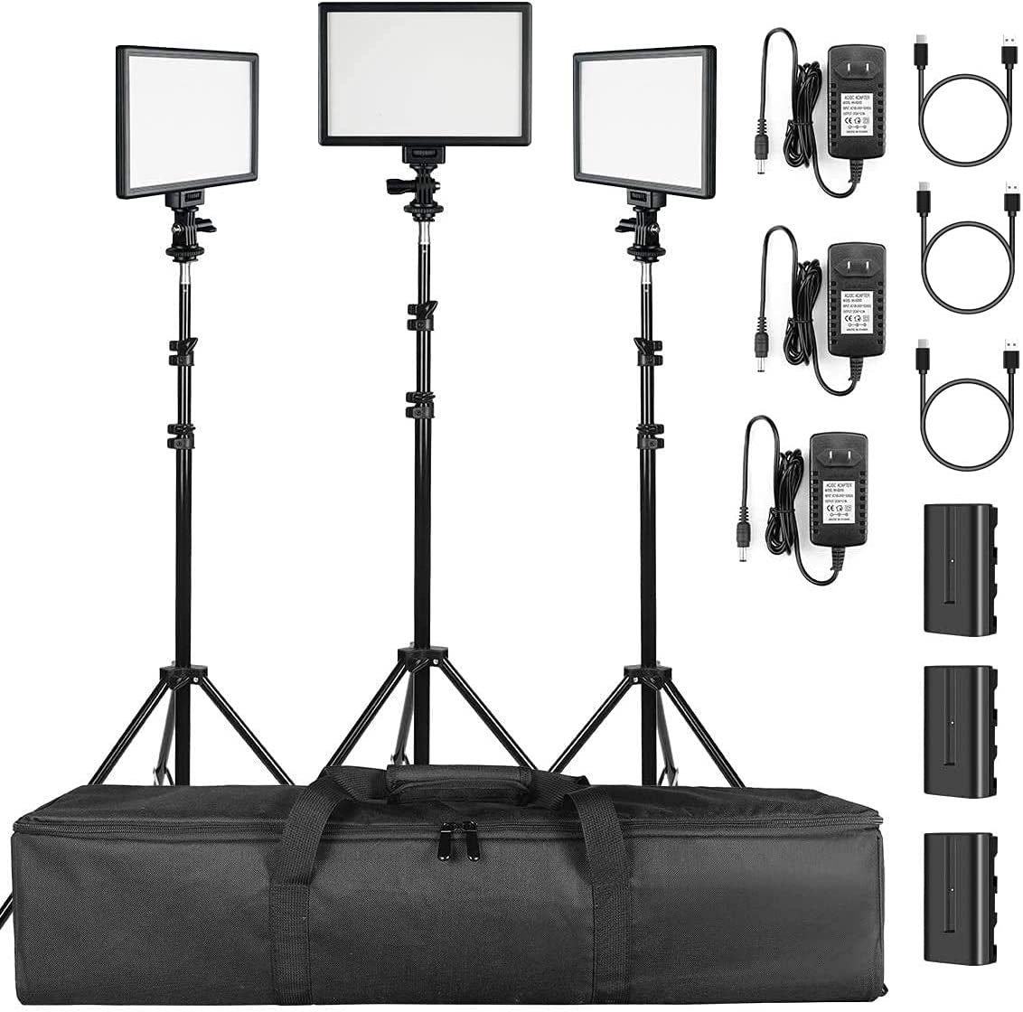 SUPON New product! New type 3 Pack Popularity LED Video Light Kit Stand Cha with Battery Lighting