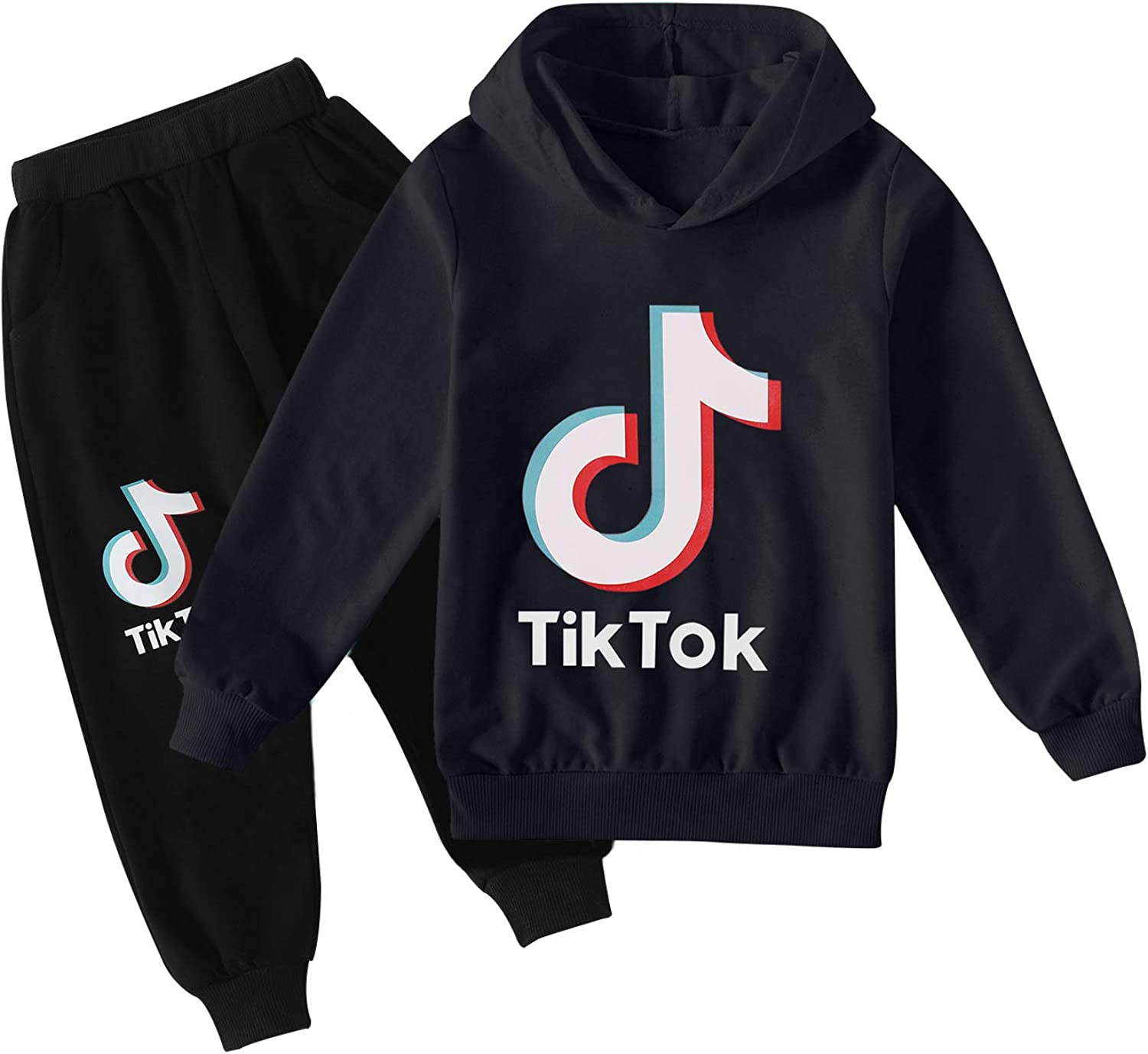 GTGY Kids TIK-Tok Sweatshirts with Hood Novelty Fashion Hoodies and Sweatpants Set for Boys Girls Pullover Casual Clothes Set