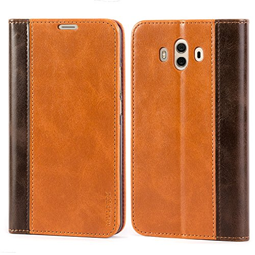 Mulbess BookStyle Custodia per Huawei Mate 10, Cover a Libro Huawei Mate 10, Custodia in Pelle Huawei Mate 10 Cover per Huawei Mate 10, Marrone