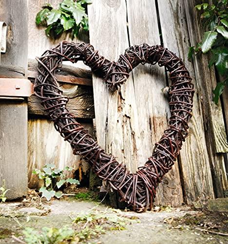 großes Deko-Herz aus Naturweide, rustikal, 55x60 cm, Weidenherz, Gartendeko