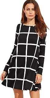 Women's Grid Check Print Long Sleeve Swing Dress
