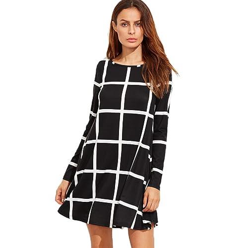 be2bce194d SheIn Women's Grid Check Print Long Sleeve Swing Dress