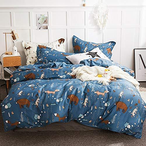 CLOTHKNOW Navy Blue Bear Comforter Sets Queen Teen Boys Bedding Comforter Full Blue Woodland Theme Fox Bear Cartoon Bed Set Boys Gift Forest Animal 3 Pcs Comforter Sets with 2 Pillowcases