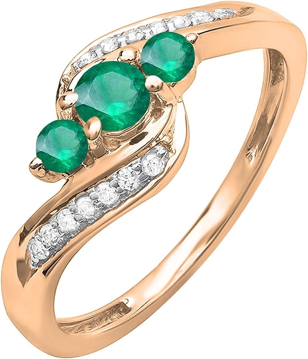 Dazzlingrock Collection 14K Gold Round Emerald & White Diamond Ladies 3 Stone Swirl Engagement Ring