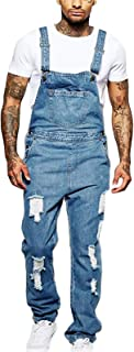 JSUMING Mens Loose Washed Ripped Denim Bib Overalls,Blue,XXL
