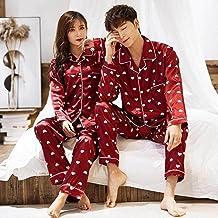 ZZJHH Satijnen paar pyjama set, bedrukte huiskleding, ondergoed, casual pyjama, rode heren, XL
