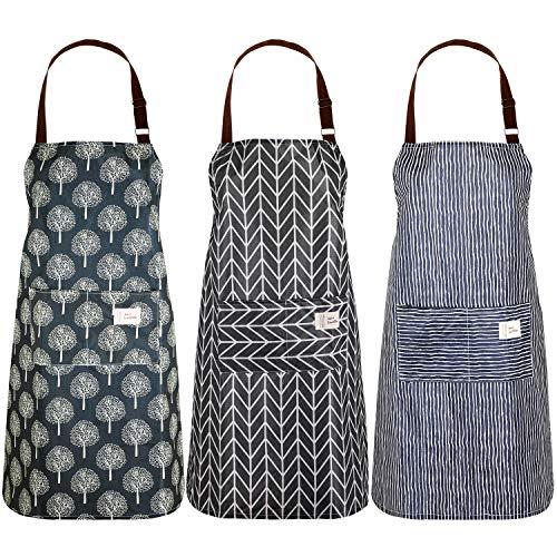 SATINIOR 3 Stück Frauen Baumwolle Leinen Schürze mit Taschen Verstellbare Kochschürzen Küchen Lätzchen Schürze für Küche Kochen Backen Haushaltsreinigung