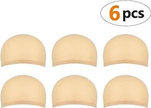 6 piezas Gorros de Peluca para Hombre y Mujer, Redecillas Casquillo de Peluca de Nylon Elástico y Delgada, un tamaño para todos (beige natural)