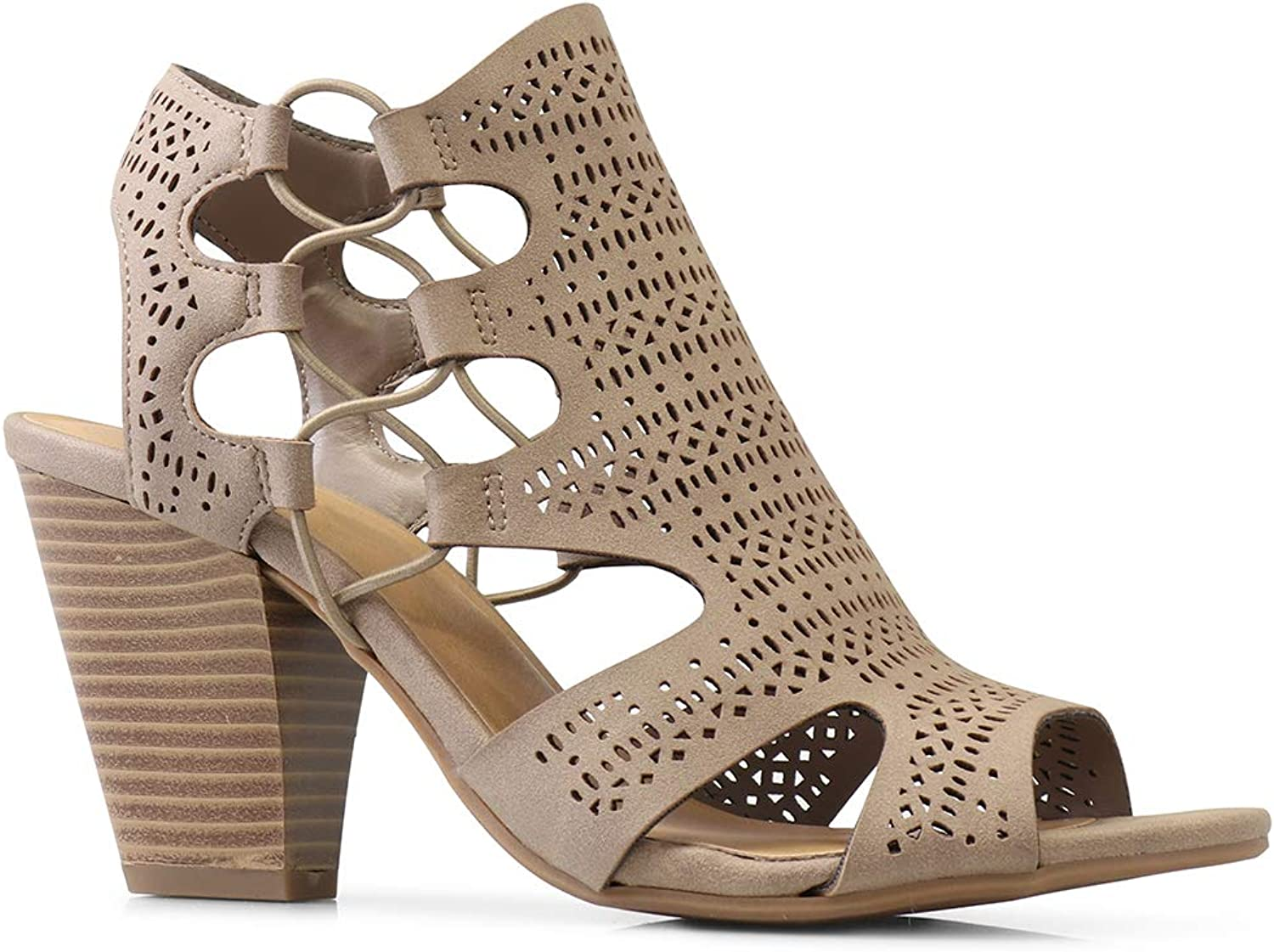 CITYCLASSIFIED City Classified Open Toe Perforated Lace up Elastic Side Stacked Chunky Heel Sandal, Lt. Taupe, 7.5