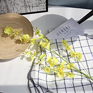 Silk Flower Arrangements Artificial and Dried Flower Artificial Gladiolus Flower White Autum Violet Silk Orchid Decor House Home Table Wedding Flower Arrangement Party Event Supply - ( Color: Yellow )