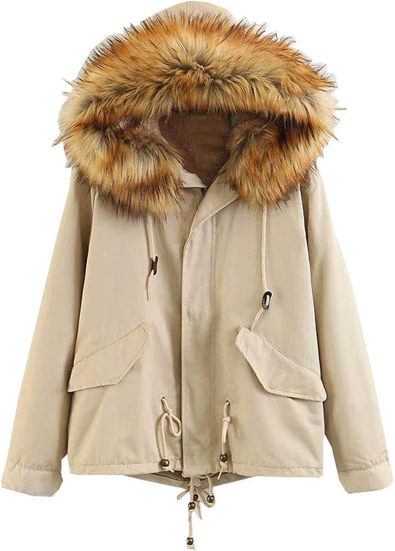 Goodtrade81 Women Winter Fleece Long Sleeve Hooded Short Warm Zip Pocket Jacket Coat