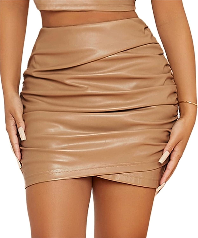 SheIn Women's Ruched High Waist PU Leather Asymmetrical Bodycon Short Mini Skirt