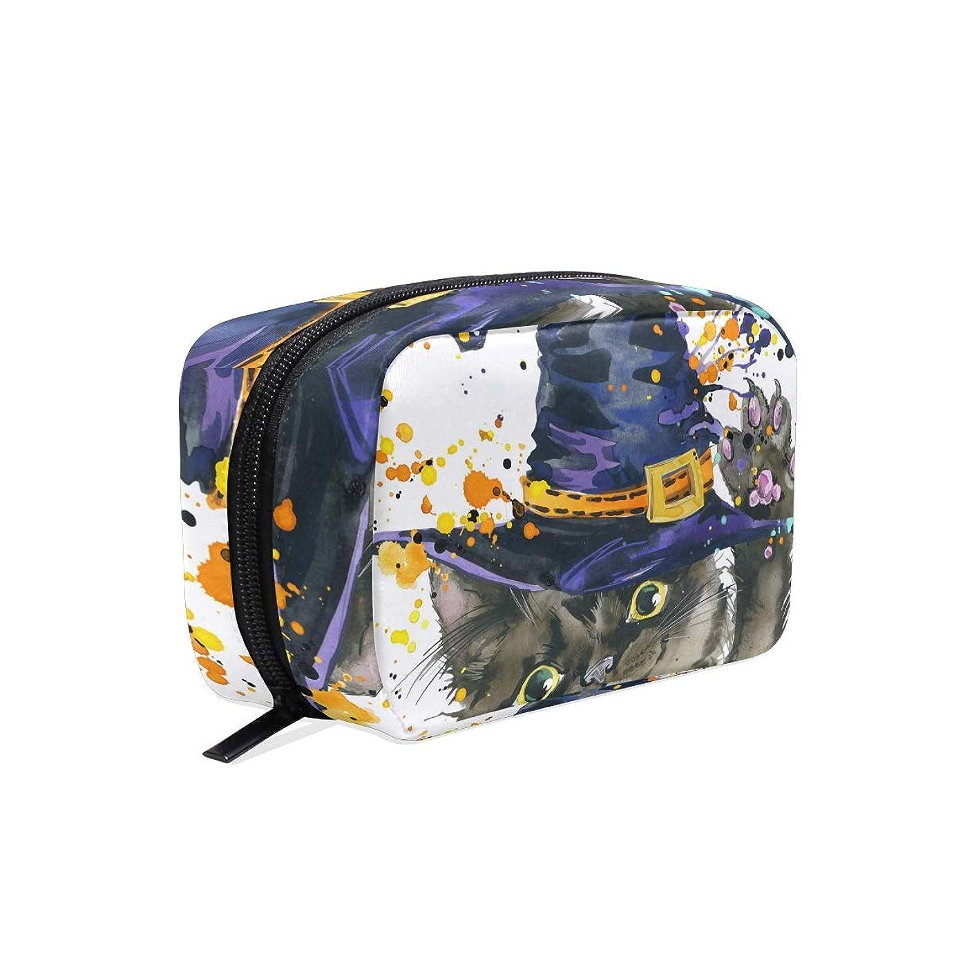 扱う動機付けるエレベーター化粧品ポーチ ハロウィーン 猫 かわいい 仕切り付き 大容量 機能性 軽量 人気 収納バッグ  レディース トラベル 雑貨 小物入れ 防水 ストレージポーチ 携帯便利 日用品 旅行 出張用 メイクポーチ
