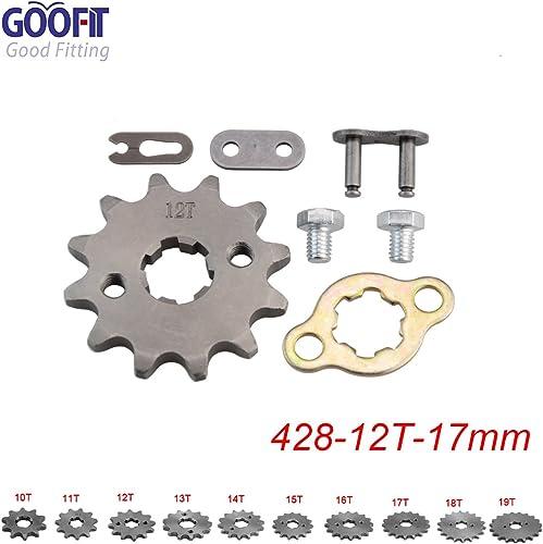 GOOFIT 428 12 T 17mm Dents Moto Pignon Moteur Pignons Coniques de chaîne Engine for 50cc 70cc 90cc 110cc Motorcycle D...