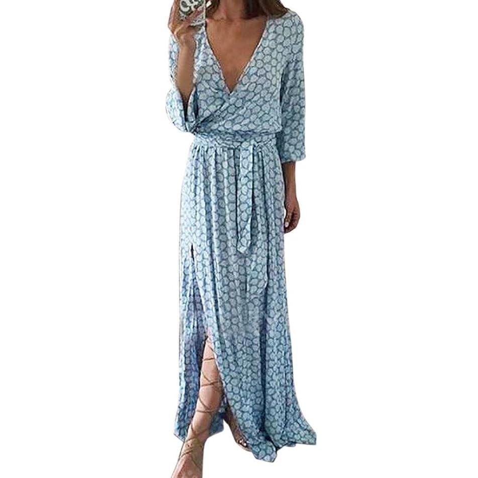 Kimloog Women's Autumn Deep V-Neck Printed Belted Front Wrap Long Maxi Dress Side Split