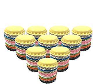 HAWORTHS 200 PCS Crown Bottle CaPs Decorative Bottle Cap Double Sideds Printed Craft Bottle Stickers for Hair Bows, DIY Pendants or Craft ScraPbooks Mixed Colors(10colors)