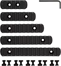 MGPCQB M-Lok Rail Sections, 5-Slot 7-Slot 9-Slot 11-Slot 13-Slot Picatinny/Weaver Rail Fits M-LOK Hand Guard, Reinforced Polymer, Pack of 5 (5/7/9/11/13-Slot), Black