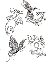 Flying Dragon Beautiful Butterflies Bird Decorative Clear Transparent Rubber Stamps for Scrapbook Craft Card Making