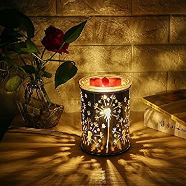 COOSA Metal Dandelion Design Oil Warmer Aromatheraphy Electric Incense Wax Tart Burner Fragrance Candle Wax Warmer for Home Bedroom Living Room (3-Level Dimmer, Touch Sensitive Control, Night Light)