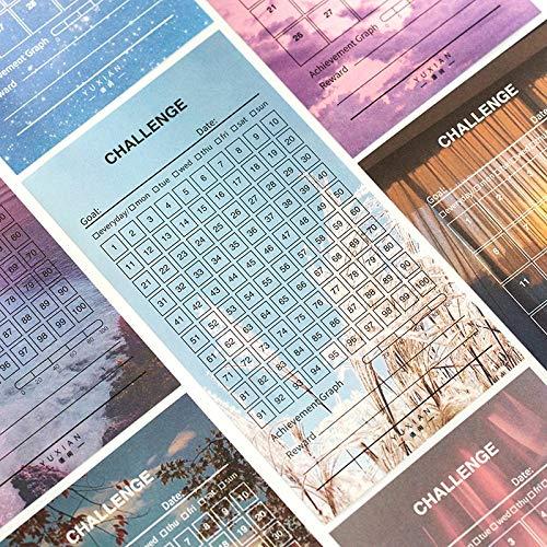 BLOUR 8 Blätter/Packung 30 100 Tage Planer Checkliste Aufkleber DIY Dekor Stick Label Briefpapier Arbeit Hilfe