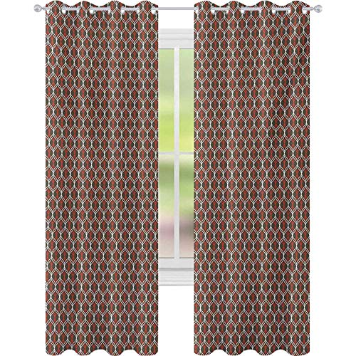 Thermal Insulated Blackout Curtains, Vertical Tangled Wavy Stripes Curves in Contrast Colors Old Fashioned, W52 x L95 Blackout Window Curtains/Drapes, Chocolate White Vermilion