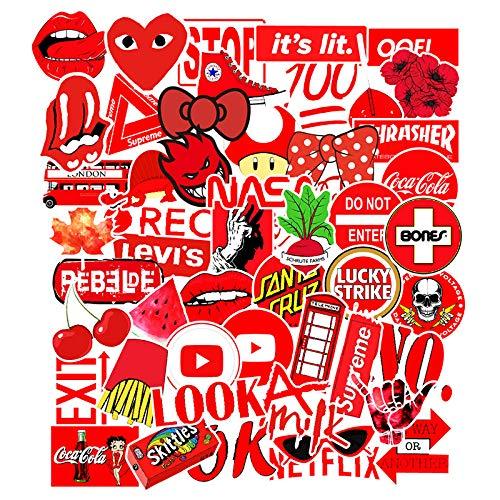 DSSJ 50 Pegatinas de Grafiti Rojas para Coche, monopatín, Nevera, Pegatinas para Ordenador a Prueba de Agua