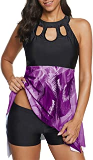Women Plus Size Two Piece Swimsuit Tankini, Ladies Floral Printed Swimwear Swimdress with Shorts