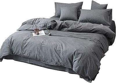ふとんかばー, ピュアカラーコットン織を洗浄綿ピュアコットンのベッドシーツ学生寮家庭用四点セット (Color : Gray, Size : Single style: 180X200cm)