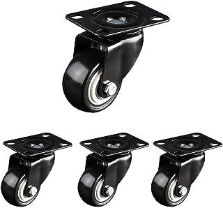 Casters 50Mm met rem Swivel bewegende meubels trolley Caster geen lawaai Pu Rubber wielen laden 200kg, zwart, 4 zwenkwielen