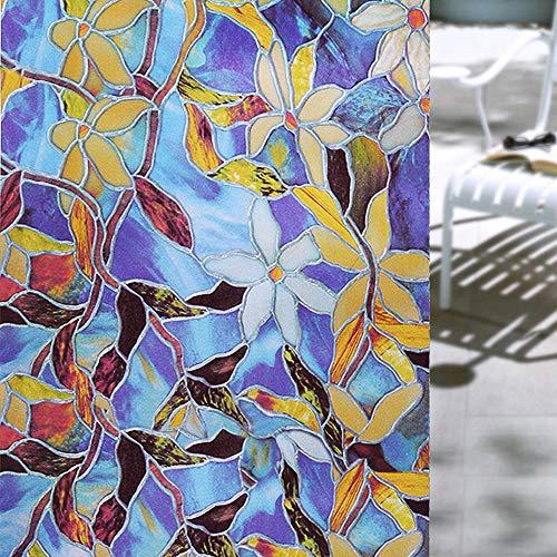 Shackcom Fensterfolie Selbsthaftend Blickdicht Farbdruck Mattglas Film Sichtschutz Sichtschutzfolie 90x200cm Statisch Haftend Anti-UV Dekorfolie für Badezimmer Küche Büro Wohnzimmer Zuhause P133