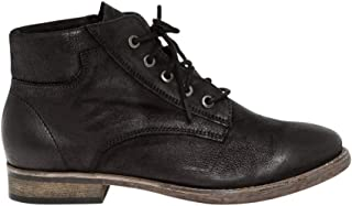 Nubuck Leather Lace-Up Boot,6.5,Black