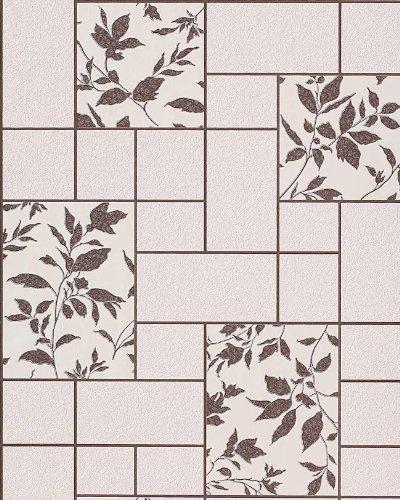 Küche Bad Tapete EDEM 146-23 3D Steintapete Flur Hobbyraum Tapete Fliesen Kachel Optik florales Muster beige creme dunkel-braun