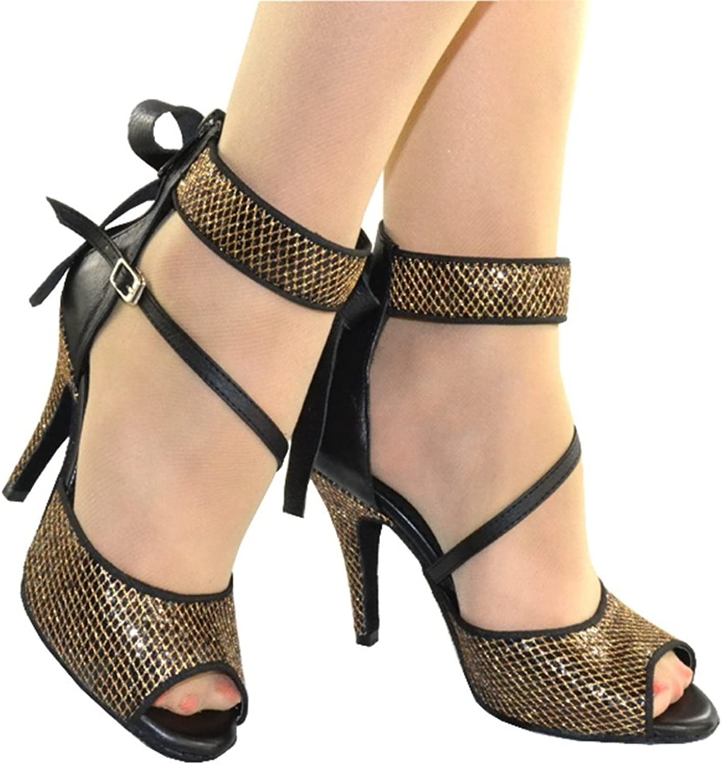TDA Women's Stiletto High Heel Zippers Open Toe Buckle Bowknot Ankle Strap Special Occasion Latin Jazz Rumba Samba Sandals
